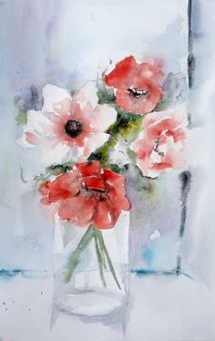 Bouquet d' anémones rouges Watercolor Projects, Watercolour Tutorials, Easy Watercolor, Watercolor Flowers, Painting & Drawing, Watercolor Paintings, Mini Paintings, Art Floral, Watercolor Illustration