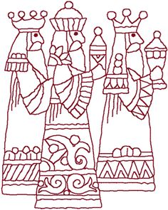 Redwork Three Wise Men Embroidery