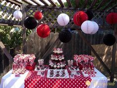 Red black-and-white Mickey party