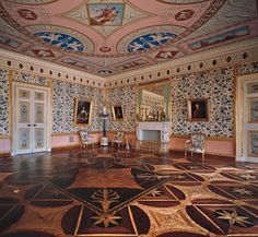The State Blue Drawing Room at the Catherine Palace - The largest and most elegant room in the apartments that Cameron created in 1779–83 for Grand Duke Paul (Paul I) is the State Blue Drawing-Room