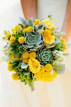 Brautstrauß Wedding decor ideas in yellow: bridal bouquet with Craspedien Make Valentine's With Your Yellow Wedding Flowers, Wedding Table Flowers, Yellow Flowers, Wedding Bouquets, Exotic Flowers, Yellow Weddings, Bridesmaid Bouquets, Wedding Bridesmaids, Pretty Flowers