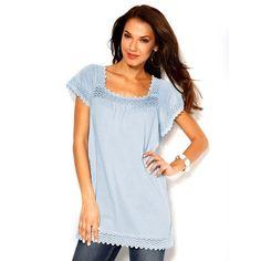 Tee-shirt manches courtes dentelle femme Venca - Bleu clair- Vue 1