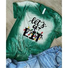 Let's get lit tshirt, bleached tshirt Christmas tee, xmas, holidays, funny sayings hilarious quotes shirt acid washed, green graphic, lights - M