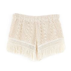 Crochet Hot Pants With Fringe Hem (75 ILS) ❤ liked on Polyvore featuring shorts, bottoms, stylemoi, micro shorts, low rise shorts, mini short shorts, stretch shorts and hot stretch pants