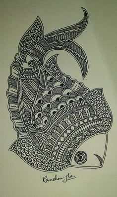 Madhubani Art, Madhubani Painting, Zantangle Art, Doddle Art, Mandala Art Lesson, Stippling Art, Doodle Art Designs, Fish Zentangle, Zentangles