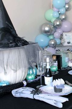 Check out this wicked Hocus Pocus Halloween party! The table settings are fabulous! See more party ideas and share yours at CatchMyParty.com #catchmyparty #partyideas #HocusPocus #hocuspocus2 #hocuspocusparty #halloween #halloweenparty