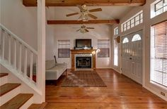 Beautiful wooden floors and beam work to admire while keeping warm by the fire.