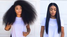 Curly to Straight Hair Tutorial (updated) - How to Get Rid of Frizzy Ends [Video] - http://community.blackhairinformation.com/video-gallery/natural-hair-videos/curly-straight-hair-tutorial-updated-get-rid-frizzy-ends-video/