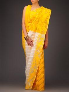 Cream-Yellow Cotton Jamdani Saree