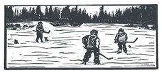 Pond+Hockey+Linocut+Relief+Print+Hand+Pulled+by+LindaCoteStudio,+$40.00