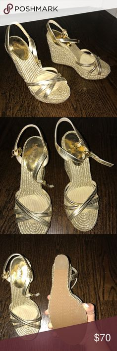 Michael Kora Gold Wedges Worn for one event. Michael Kors Shoes Wedges