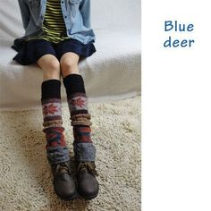 New British style jacquard maple pattern with colored deer motif novelty ankle leg warmers for women, warm knee high socks legs