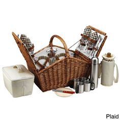 The quality and sophistication of the English-style Huntsman four-person Picnic Basket with coffee service is sure to impress. This set is beautifully hand crafted using full reed willow with leather handle, closures, hinge covers.