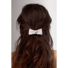 Pearl bow bridal hair clip ❤ liked on Polyvore