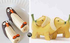 Banane creative. E'arrivato il momento della frutta!Divertite i vostri ospiti e i vostri bambini presentando le banane in modo originale e creativo.Guardate