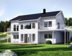 Haugli er en romslig enebolig med sokkel   Norgeshus Home Fashion, Building A House, Mansions, Villa, House Styles, Home Decor, Alternative, Homes, Decoration Home