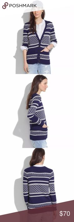 Madewell Blue Cozy Stitchway Cardigan Sweater $128 Madewell Blue Vintage Cozy Stitchway Cardigan Sweater Sz S  PRODUCT DETAILS Tons of texture. A vintage graphic pattern. Toss it on as a jacket on all those spring-chill days. Cotton. Hand wash. Import. Madewell Sweaters Cardigans
