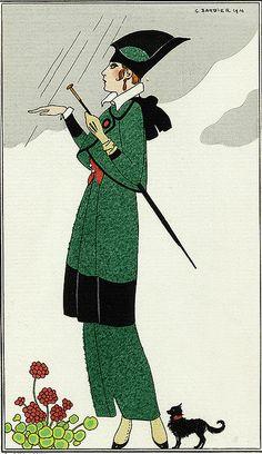 Barbier 1914 Tailleur de ratine verte
