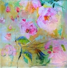 BLOOMING JAPANESE CHERRY Original Abstract Painting by Paulina722, $138.00
