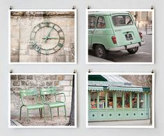 Paris Photography Set Green  French Art by TheParisPrintShop