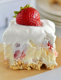 Strawberry Cheesecake Lush - Recipe, Cakes, Desserts, Pies, Holidays, Kid Friendly, Quick and Easy