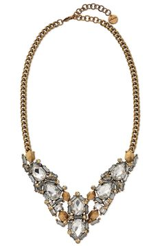 "Gold & Crystal Stone Statement Necklace | Zora Crystal Necklace | Stella & Dot  This statement maker of crystal stones is the ultimate way to sparkle this season. With your little black dress and a confident smile... holiday party, here you come.      18"" plus 3"" extender.     Lead and nickel safe."
