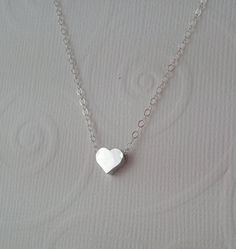 Tiny Silver Heart Necklace Little Heart Sterling by DESIGNSBYILAI, $19.00