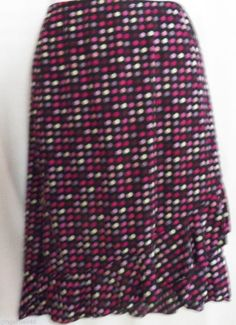 My Michelle Skirt Size Medium Black Pink Purple White Polka Dots  Polyester