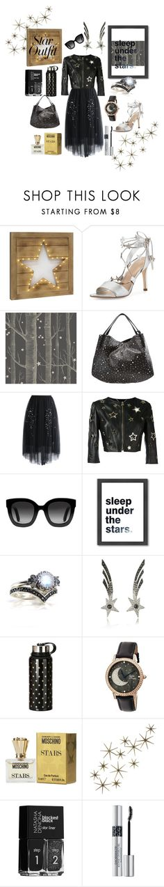 """""""Sleep Under the Stars"""" by sallytcrosswell on Polyvore featuring Loeffler Randall, Cole & Son, ESPRIT, Chicwish, Philipp Plein, Gucci, Americanflat, Bernard Delettrez, Sophie and Freda and Moschino"""