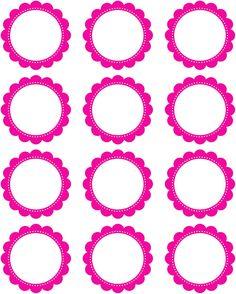 Free Printable2 Inch Hot Pink Scallop Circles