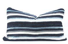 Blue Striped Mudcloth Pillow Medium Lumbar