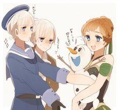 crossover,Axis Powers: Hetalia, Frozen , Olaf the Snowman, Princess Anna