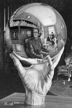 """Parody of an Escher piece of Herman Munster. Notice it is """"Thing"""", from The Addams Family, holding the chrome ball."""
