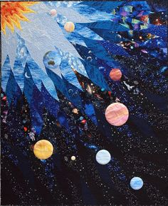 Patchwork-Art - Sampaguita Quilts: Solar System / Space quilt If I ever actually learn how to quilt/embroider Quilt Festival, Boy Quilts, Star Quilts, Man Quilt, Quilting Projects, Quilting Designs, Art Quilting, Quilt Art, Quilting Ideas