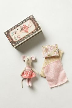 Big Sister in A Box by Maileg. Perfectly fit for a nightstand, Danish design brand Maileg's tiny-eared toy mouse makes a suitable sidekick for listening to lullabies and bedtime stories.