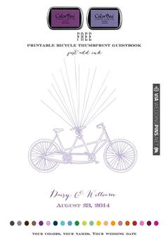 Free Tandem Bicycle Thumbprint Guestbook. Totally Customize with your colors, names & date. Just add ink + thumbprints. | CHECK OUT MORE IDEAS AT WEDDINGPINS.NET | #printableweddingtemplates