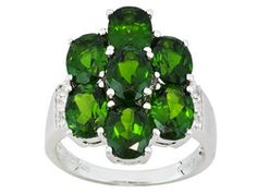 6.13ctw Oval Russian Chrome Diopside And Round White Topaz Sterling Silver Ring Erv $174.00