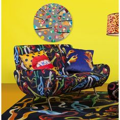 Seletti Cushions At Cheap Price With Lipstick Volcano Kitten Teeth and Snakes flowers Armchair in Velvet Material by Seletti Wears Toiletpaper at Smithers of Stamford Dealer Store Uk Seller of Art Velvet Furniture, Furniture Care, Retro Images, Velvet Material, Crates, Bean Bag Chair, Armchair, Cushions, Art Prints