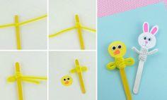 Puppen aus Eisstiele, Papier und Pfeifenreinigern basteln