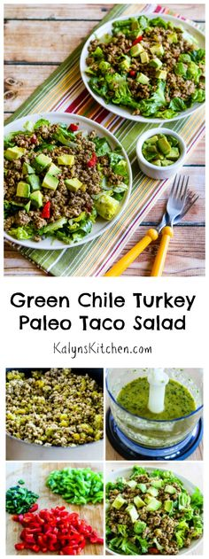 When several of my nieces were doing #Whole30 I came up with this Green Chile Turkey Paleo Taco Salad for them, and it was delicious!  #Paleo #GlutenFree #LowCarb [from KalynsKitchen.com]
