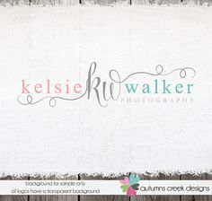 Custom Premade Photography Logo - Swirls and Initials Logo and Watermark Design Name Text Logo