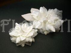 Antique White Couture Camellia Bridal Hair Dress Pin Accessory Set | Floreti - Wedding on ArtFire.weddings, accessories, hair, head piece, veil, white, camellia, bridal hair clip, wedding dress pin, bridal accessories, swarovski crystals, hair clip, hair flower, ArtFire wedding team. $107.73