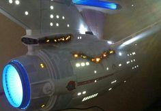 Lighted damage a la Wrath of Khan. Enterprise Model, Uss Enterprise Ncc 1701, Star Trek Enterprise, Star Trek Models, Sci Fi Models, Star Trek Ii, Star Trek Ships, The Enemy Within, Star Trek Starships