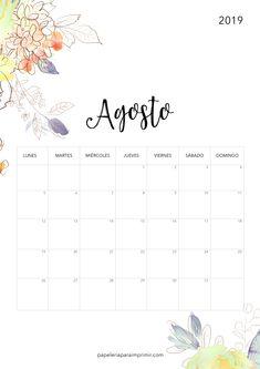 Calendario para imprimir 2019 - Agosto  #calendario #imprimir #2019 #agosto #august #printable #freebie #gratis #papeleria #stationery #flores #flowers