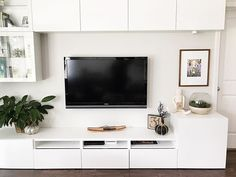 My secret to keeping things white.use a good filter 😉 Ikea Living Room, Living Room Storage, Home Living, Living Room Modern, Ikea Tv Unit, Living Room Tv Unit Designs, Tv Wall Design, Tv Cabinet Design, Living Room Entertainment Center