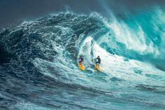 m a u i . j a w s I V - local surfer sharing a wave at jaws, maui.