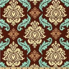 Brown, Cream and Turquoise Damask