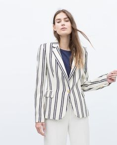 Image 2 of STRIPE TEXTURED BLAZER from Zara Jackets For Women, Clothes For Women, Zara Women, Body Shapes, Blazer Jacket, What To Wear, Bell Sleeve Top, Trousers, Stripes
