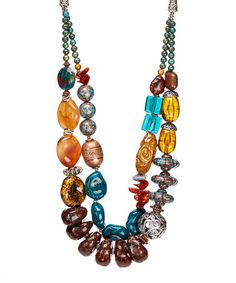 Another great find on #zulily! Brown & Blue Beaded Statement Necklace #zulilyfinds