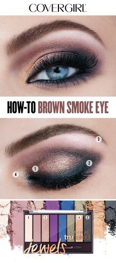 Here's how to create the Brown Smoke Eye designed by COVERGIRL Creative Director Pat McGrath. Start with Sunstone over eyelid up to crease, blending color out softly. Use same color along bottom of lash line. Next, apply Onyx along top and bottom lash line and outer corner of eye. Blend color into crease. Then, highlight brow bone softly with Pearl and accent inner corner using Gold. Complete the holiday look with So Lashy! Mascara and apply multiple coats for added volume.